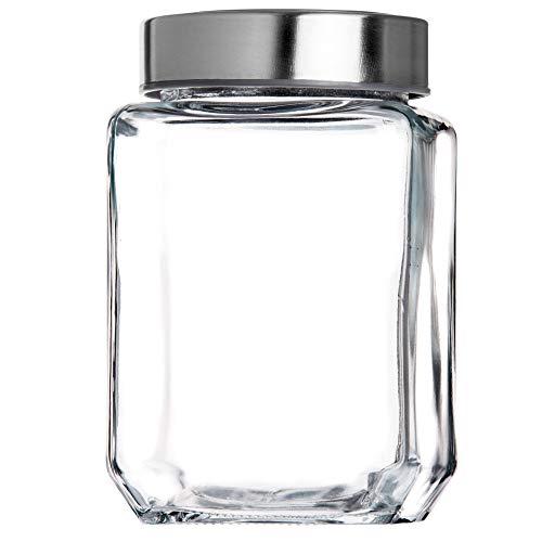 KADAX Vorratsglas, Glasbehälter mit Deckel aus Kunststoff, Lebensmittelbehälter aus Glas, Vorratsdose für Nudeln, Spaghetti, Gewürze, Einweckglas, transparent, luftdicht (1000ML, grau)