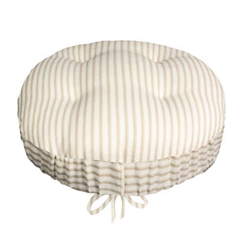 Ticking Stripe Natural Bar Stool Cover with Adjustable Yoke - Size Standard for Round 12'-13'-14' Stools - Latex Foam Cushion - Made in USA - 100% Cotton