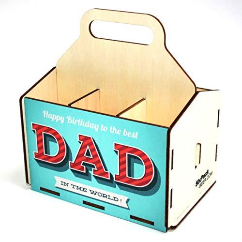 Bierträger aus Holz - Geburtstag - Sixpack - 6er Träger - Geschenke für Männer - Grillen - Vatertag (Best DAD)