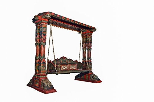 Favors Two Pillar Design Painted Wooden Carved Royal Swing Set/Indoor Jhula