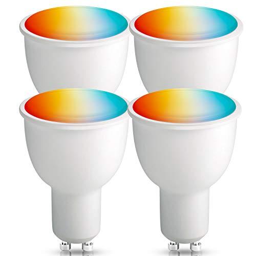 Smart Alexa Lampen GU10, BrizLabs Wlan Alexa Glühbirnen 4.5W RGBW Mehrfarbig Intelligente Lamp ohne Hub Ersatz für 50W Halogenlampen, Kompatibel mit Google Home IFTTT APP Echo, 4 Stück