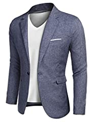 MATERIAL --- Polyester&Cotton; Dry Clean Only(Recommended); Hand washes max temperature 40°C, Do not bleach, Iron max 110°C. SUIT BLAZER DESIGN --- Modern fashion Lightweight Suit Jacket Blazer with notch lapel, one button closure, left chest real po...