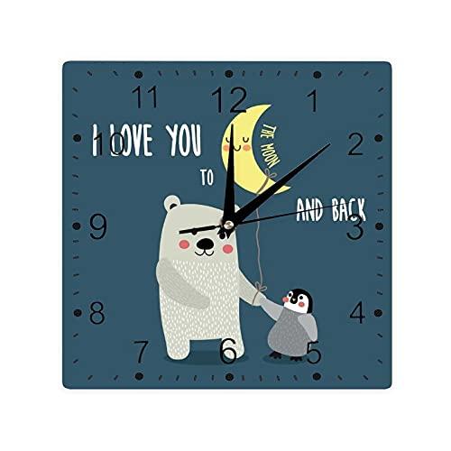 Oso de peluche y pingüino Mejores Amigos Árticos Amantes Bajo Luna Dibujos Animados Color Cuadrado Morden Reloj Slient