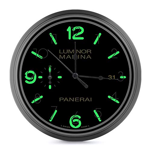 Panerai Luminor Marina Night Mode European Style Retro Wall Clock, Silent Non Ticking Battery Operated Movement, Home/Wall Decor One Size