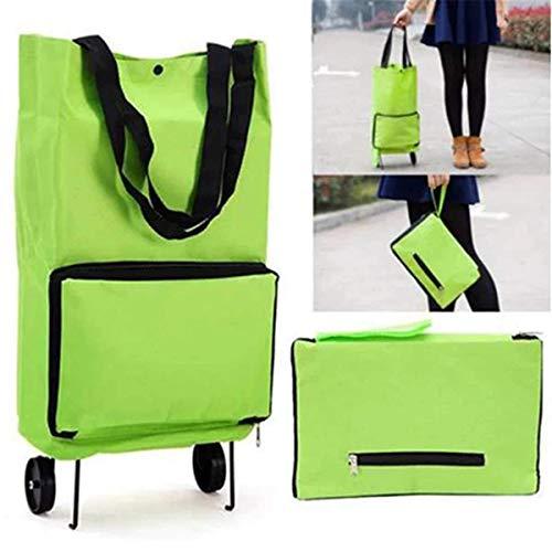 Bolsas plegables con ruedas plegables para carrito de compras con ruedas plegables y reutilizables, bolsas de compras portátiles y tiradas a mano, bolsas de comestibles