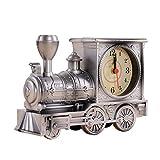 VOSAREA Retro Zug tischuhr Vintage Motor Uhr neuheit lokomotive wecker kreative Desktop Dekoration (Silber)