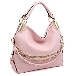 Pink With Rhinestone & Chain Top Handle Shoulder Bag