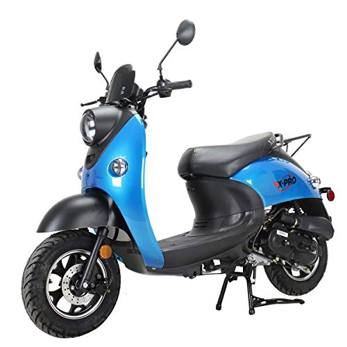 """X-PRO 50cc Gas Moped Scooter Adult Scooter Bike Street Scooter Moped 50cc with 10"""" Aluminum Wheels! (Blue)"""