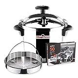 MAGEFESA STAR Olla a presión rápida. Pack exclusivo Olla+Cestillo+Libro de recetas. Fácil uso, acero inoxidable 18/10, apta para todo tipo de cocinas, incluido inducción, 3 sistemas de seguridad. (6L)