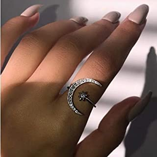 Cutedoumiao Silver Opening Ring Crescent Shape Rhinestone Finger Band Half Moon Sun Star Artificial Diamond Inlay Engagement Ring