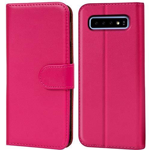 Preisvergleich Produktbild Conie Handyhülle für Samsung Galaxy S10 Hülle,  Premium PU Leder Flip Case Booklet Cover Weiches Innenfutter für Galaxy S10 Tasche,  Pink