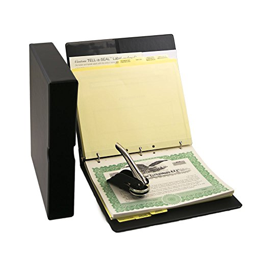 Limited Liability Company (LLC) Kit with Records Binder, LLC Seal, Printed Membership Certificates with Full-Page Stubs and More, from Blumberg Black Beauty Model (Black with PDF Operating Agreements)