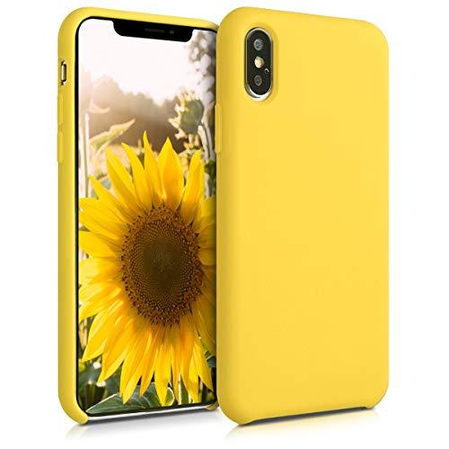 kwmobile Custodia Compatibile con Apple iPhone XS Max - Cover in Silicone TPU - Back Case per Smartphone - Protezione Gommata Giallo Acceso