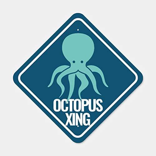 CiCiDi Blue Kids RoomOctopus CrossingDecor Highway Metal Sign, 8 in X 12 In Art Decor