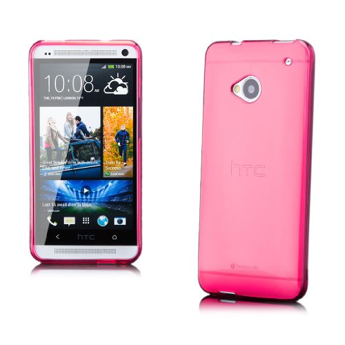 iCues HTC One M7 |  Transparent TPU Case Rosa | [Display Schutzfolie Inklusive] Transparent Klarsichthülle Durchsichtig Klare Klarsicht Silikon Gel Schutzhülle Hülle Cover Schutz