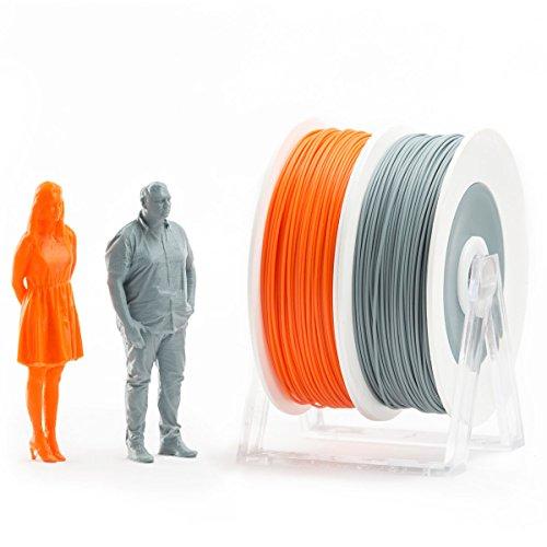 Eumakers FPLAD-1C-A/G Coppia di Bobine Filamento in PLA, 1.75 mm, Arancione/Grigio