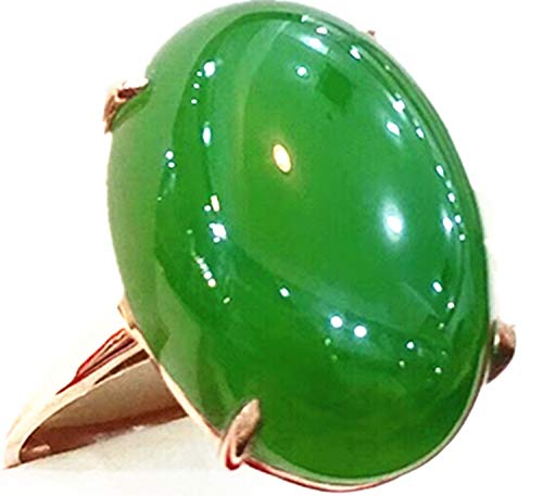 yigedan 18K Real Gold Neu mit Zertifikat natürlicher Chinesischer 925grün Jade Frauen Jade Ring