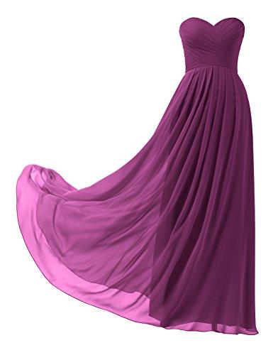 Remedios A-Linie Chiffon Brautjungfernkleider ballkleid Abendkleider Lang,#38a Magenta,34