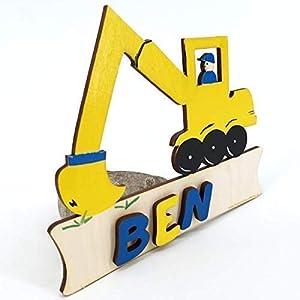Bagger gelb – Türschild mit Name Gravur oder Buchstaben – Kinder Holz Tür – Geburtsgeschenk, Geburtstagsgeschenk…