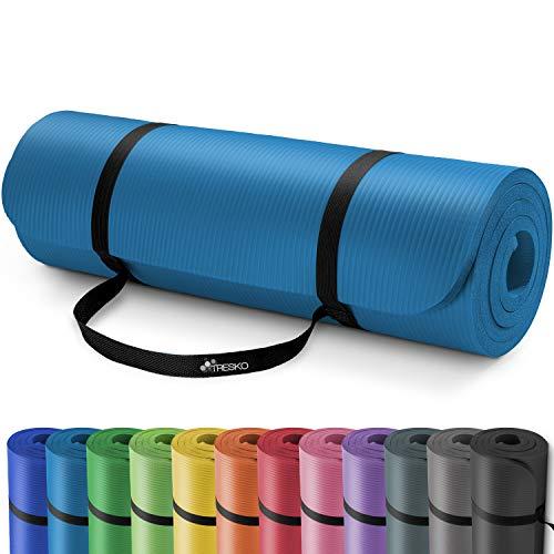 TRESKO Fitnessmatte Yogamatte Pilatesmatte Gymnastikmatte | 185cm x 60cm oder 190cm x 100cm | 1.0cm oder 1.5cm stark | Phthalates-getestet | hautfreundlich | kälteisolierend | Blau 190x100x1.5cm