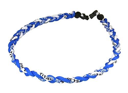 3M-白 青 三つ編みチタンネックレス 三つ編みネックレス チタンネックレス スポーツネックレス 健康ネックレス
