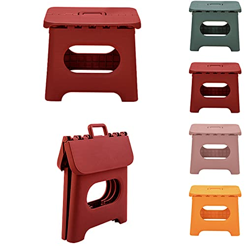 QILESUNNY 2021 Upgrade 10 inch Folding Step Stool , Folding Step Stool with Handle,Portable Collapsible Small Plastic Foot Stool for Adults,Kitchen Garden Bathroom Step Stools(Red)