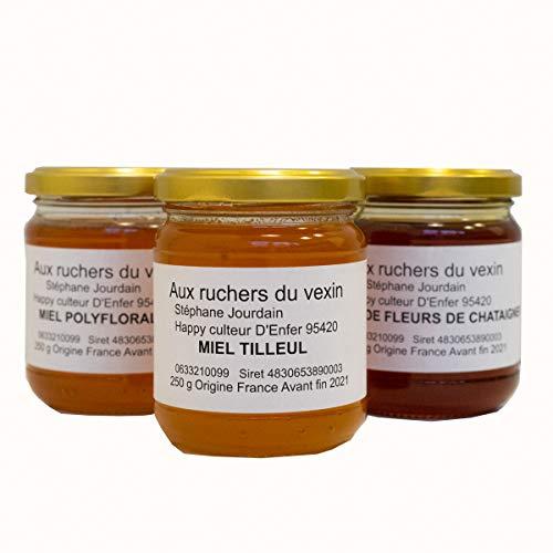AUX RUCHERS DU VEXIN – Miel Francais 100% PUR & NATUREL Assortiment de 3 parfums : 1 miel tilleul, 1 miel de fleur de châtaignier et 1 miel de Printemps. Chaque pot fait 250 grammes.