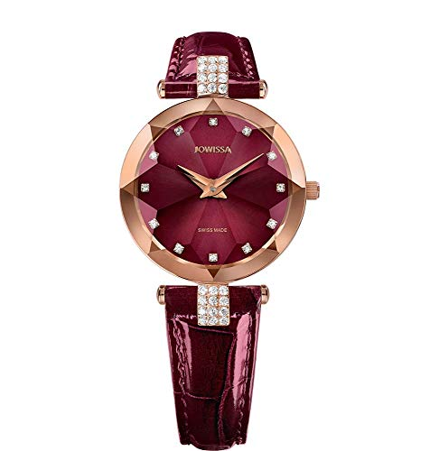 Jowissa Facet Strass Schweizer Damenuhr J5.624.M Bordeaux/Rosa