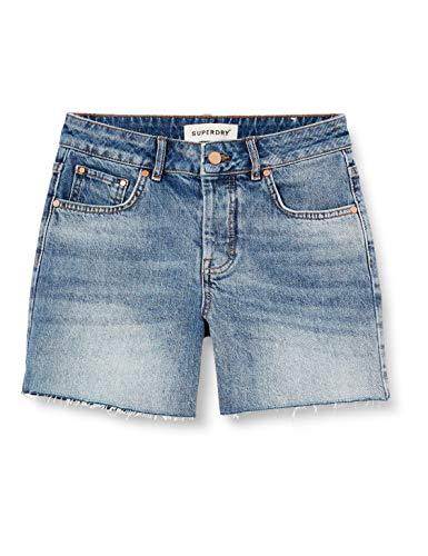 Superdry Denim Length Short Pantalones Cortos, Azul (Mid Indigo Vintage 3gl), 50 (Talla del Fabricante: 33) para Mujer