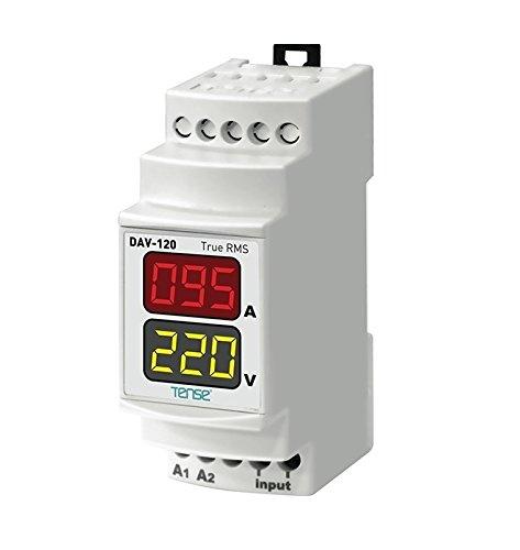 Tense DAV-120 Einbaumessgerät Multimeter zur Messung von Strom und Spannung bei 1-Phasigen Verbrauchern und Netzen - DIN-Schiene Hutschiene digital