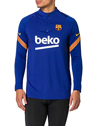 Nike FCB M NK Dry Strk DRIL Top T-Shirt à Manches Longues Homme, Deep Royal Blue/Deep Royal Blue/Amarillo/(Amarillo) (Full spon-Coach), FR (Taille Fabricant : XL)