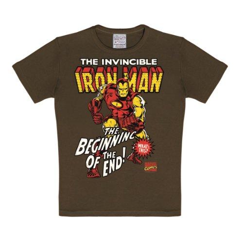 Logoshirt T-Shirt per Bambini Iron Man - Maglia per Bambini Marvel Comics - Maglietta Girocollo Marrone - Design Originale Concesso su Licenza, Taglia 80/86, 18 Mesi