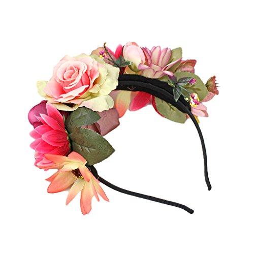 MagiDeal Boho Damen Mädchen Blume Haarreif Blumenstirnband Garland Festival Hochzeit Braut Brautjungfer Haarband Kopfband Kranz - Rosa
