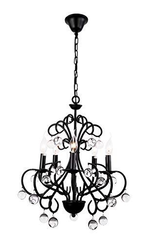 Retro Candelabros Cristal Lámparas De Araña E14 Metal Iluminación Colgante Ajustable Altura Colgante De Cristal Ronda Restaurante Lámpara De Dormitorio Sala De Estar Cocina Comedor 5 Luces