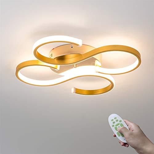 Lámpara de techo LED moderna de 38 W, regulable, con mando a distancia, para estudios, comedores, personalidad, 2S, metal, acrílico, dorado, restaurante, iluminación interior, 3000 K-6500 K