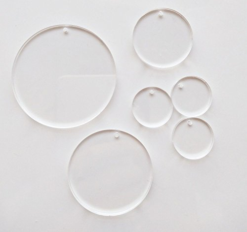 Meya Acrylscheiben, 15Stück, hochtransparent, mit Loch, 0,3 cm, für Schlüsselanhänger, Schmuck, zum Basteln