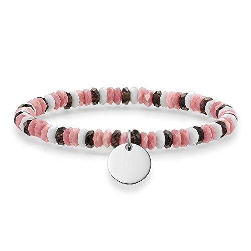 Thomas Sabo Damen-Armband Love Bridge 925 Sterling Silber weiß grau pink weiß Länge 17.5 cm LBA0026-833-7-L17,5