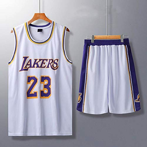 HS-XP Niños Adultos Baloncesto NBA Los Angeles Lakers # 23 Lebron James Tank Top Y Shorts Set Sweatshirt Camiseta Suelta Baloncesto Jerseys,Blanco,XL(Child) 145~155CM