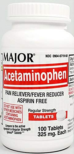 Major Acetaminophen 325 mg Tablets 100 Count