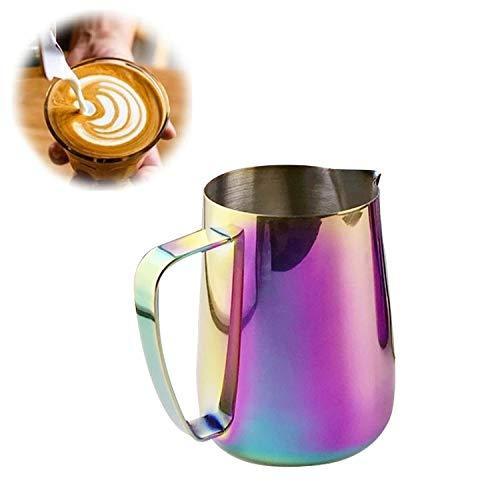 GOEDE KWALITEIT NNJQZTB Milk Jug 0.3-0.6L RVS opschuimen Pitcher Pull Flower Cup Coffee melkopschuimer Latte Art Melkschuim Tool Coffeware, Capaciteit: 350 ml (zwart) (Color : Colorful)