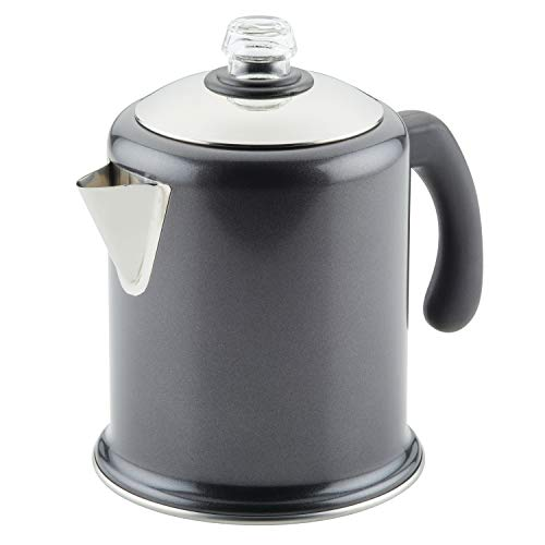 Farberware 120 Limited Edition Stainless Steel Coffee Percolator, 8 Cup, Pewter Gray