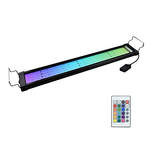 "Bonlux RGB LED Aquarium Light - 29""-37"" Color Changing LED Fish Tank Hood Light with Extendable Brackets, Dimmable RGB LED Light for Freshwater Saltwater Marine Full Spectrum Light"