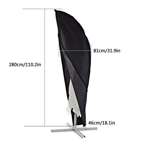 Xiliy Housse de Protection pour Parasol à Mât Excentré Parasol Decentré Imperméable Résistant à UV Intempéries avec Sac de Rangement 280 x 46 x 81cm
