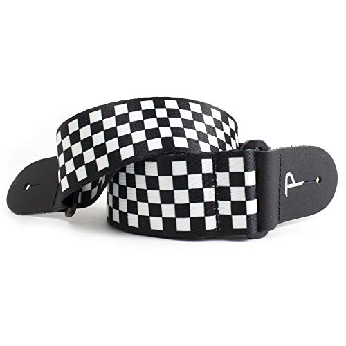 "Perri's Leathers The Checker Collection Polyester Guitar Strap, 2"" inches Wide, Adjustable Length 39"" to 58"" inches, Black and White Checkers"