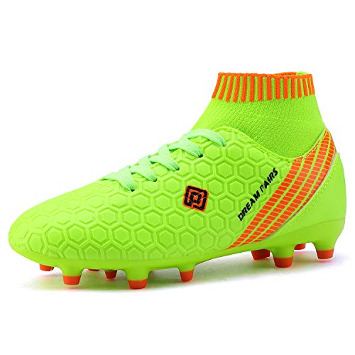 DREAM PAIRS Boys Girls HZ19007K Soccer Shoes Football Cleats Neon Green White Size 12 M US Little Kid