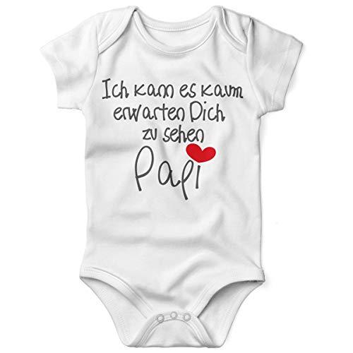 Mikalino Babybody mit Spruch für Jungen Mädchen Unisex Kurzarm Ich kann es kaum erwarten Dich zu sehen Papi | handbedruckt in Deutschland | Handmade with Love, Farbe:Weiss, Grösse:56