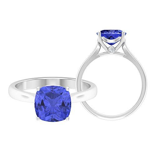 Rosec Jewels 14 quilates oro blanco cojín Round Brilliant Blue Moissanite Tanzanite