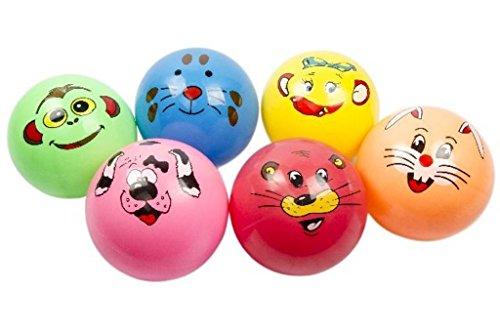 8752, 4 Stück Kinder Fußbälle 23cm Ø mit Tiergesichtern in tollen bunten Farben, Springball, Fussball, Wasserball, Spielball, Fußball, Pool, Garten, Schwimmbad