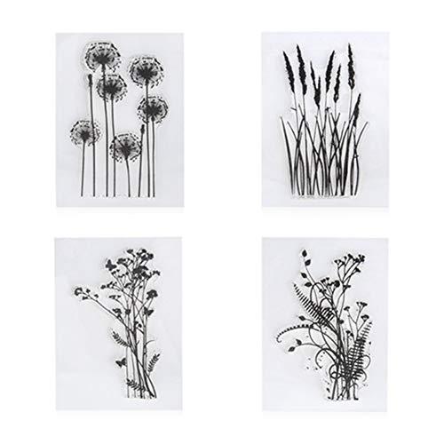 Stempel-Set, Muster: Löwenzahn, Lavendel, Blumen, Blätter, aus Gummi, transparent, für Scrapbooking, Fotoalben, dekorative Karten, 4 Stück