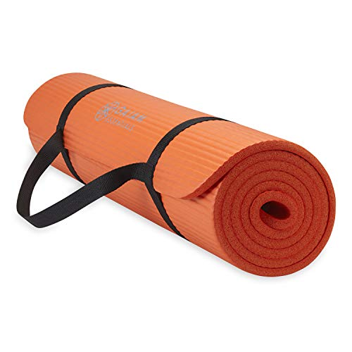 Gaiam Essentials Thick Yoga Mat Fitness & Exercise Mat with Easy-Cinch Yoga Mat Carrier Strap, Orange, 72 InchL x 24 InchW x 2/5 Inch Thick